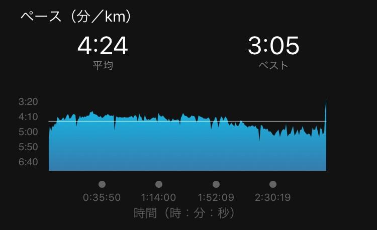 板橋Cityマラソン、ペースグラフ