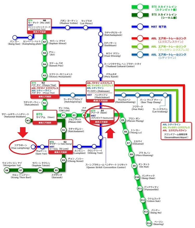 MRTフアランポーン駅からMRTスクンビット駅